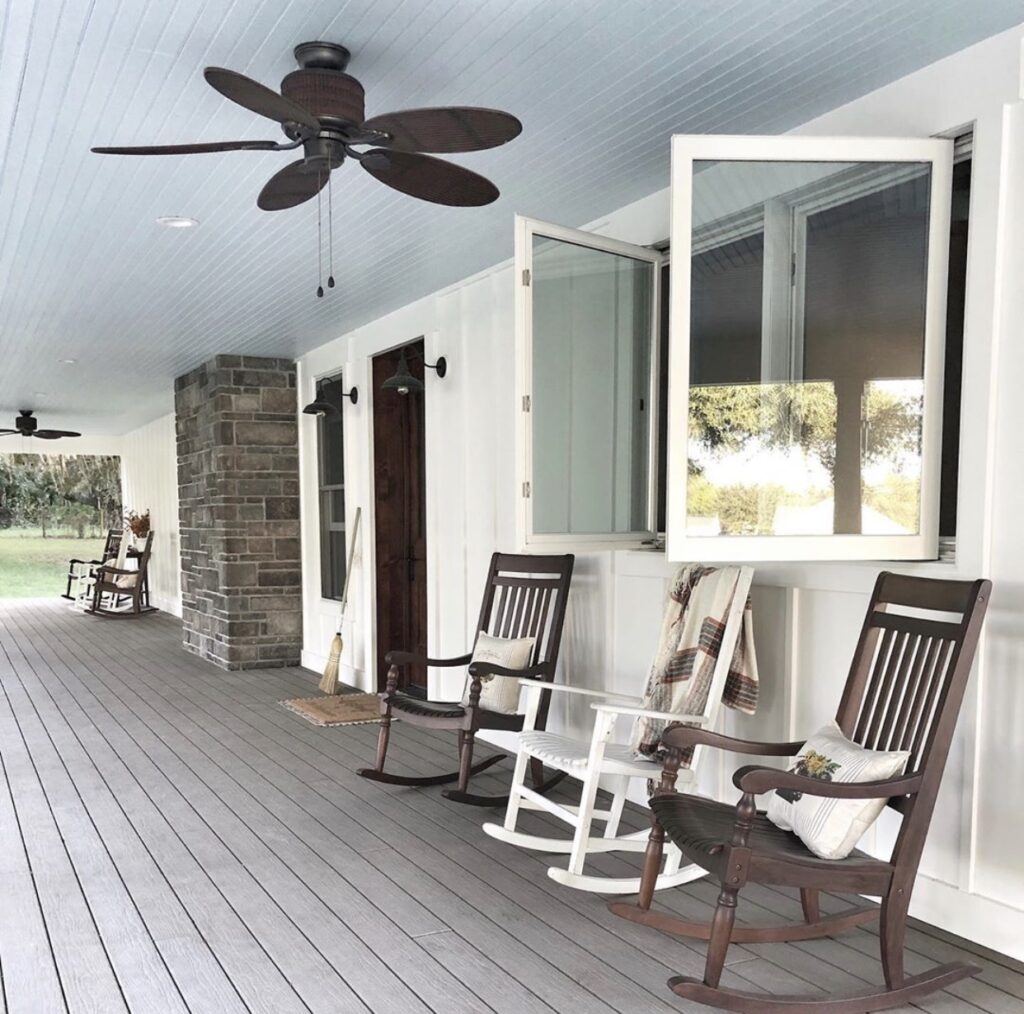 Farmhouse front porch with blue ceiling